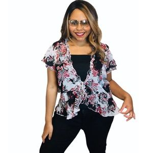 Floral Tie Front Floral Flirty Short Sleeve Blouse